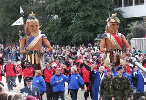 Gog and Magog on parade.