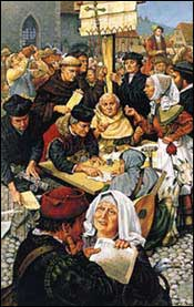 Big business! A typical market day scene in Germany before the Reformation.